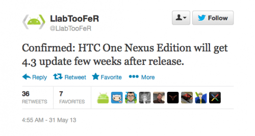 Android 4.3 ready for HTC One Nexus Edition