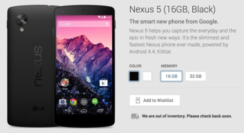 Google Nexus 5 sold out on Google Play