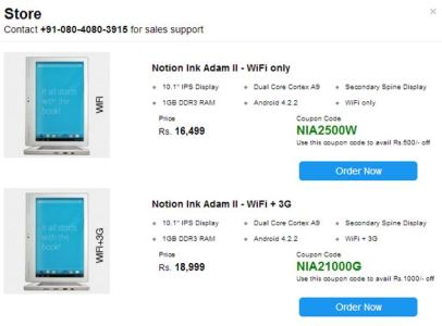 The Notion Ink Adam II Tablet to Be on Sales in India without the Pixel Qi