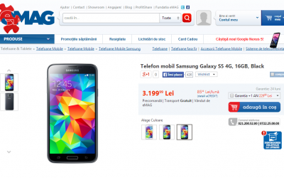 Samsung Galaxy S5 Up for Pre-order in Romania on Emag