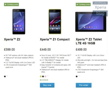 Sony Xperia Z2 Pre-orders Removed on Regional Websites