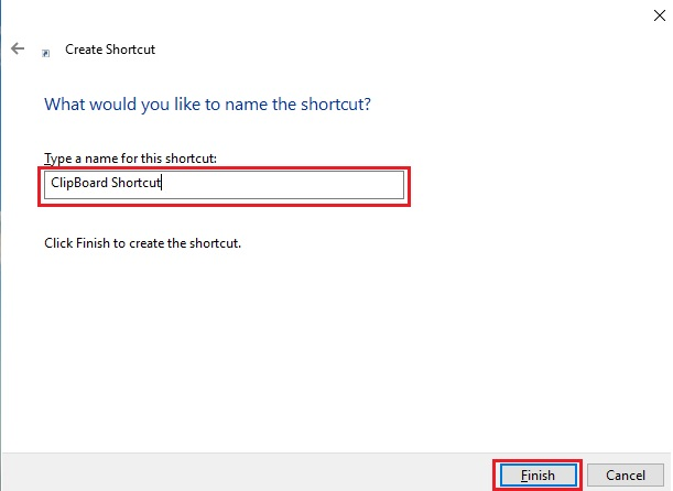give the name of the clipboard shortcut