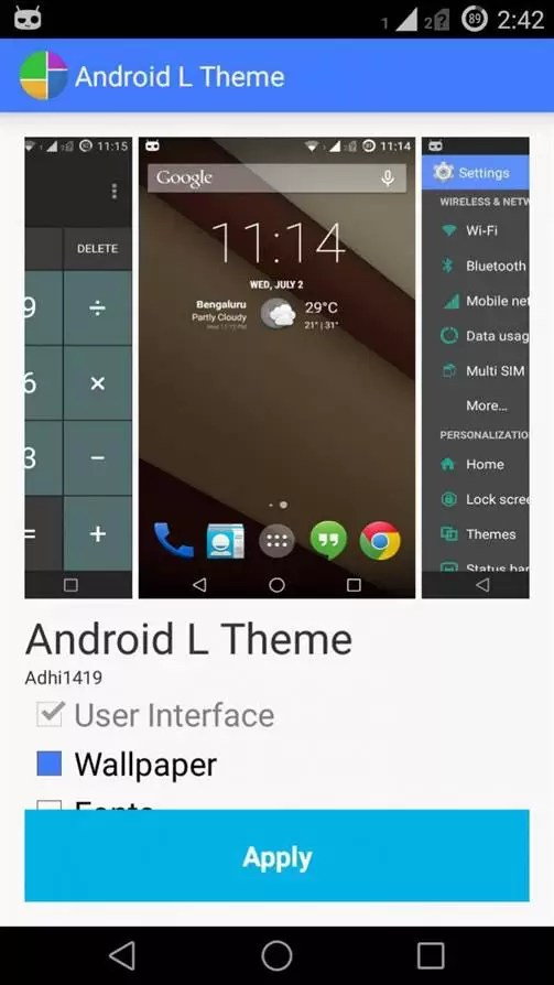 Android L theme para Xposed devices 6
