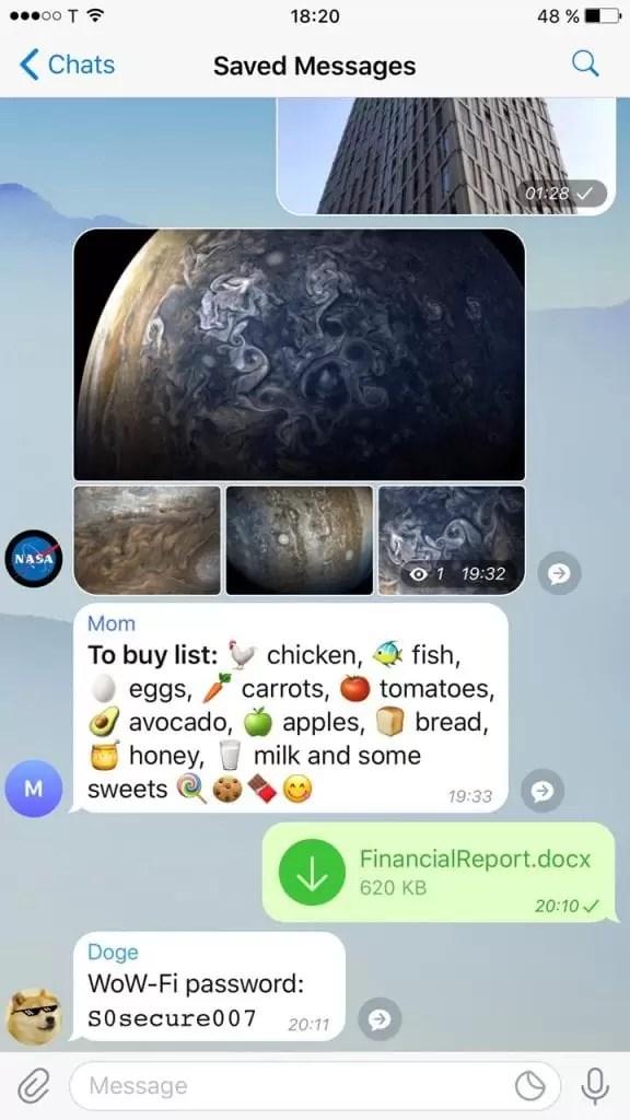 A atualização do Telegram traz álbuns, mensagens guardadas e pesquisa melhorada 2