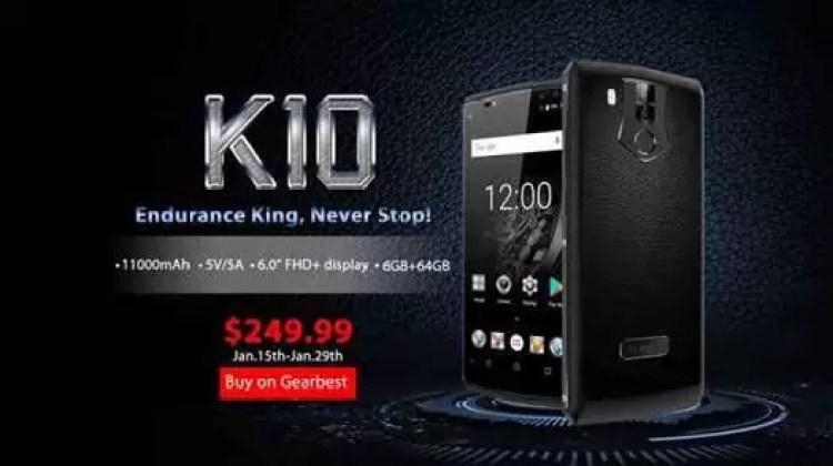 Rei da resistência! OUKITEL K10 com 11000mAh de bateria começa a pré-venda por US $ 249,99 1