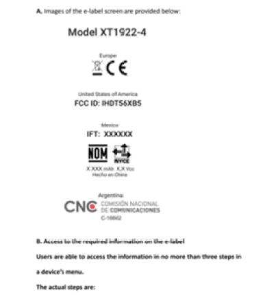 Motorola XT1922-4 e XT1922-5 mostram-se ao organismo regulador 1