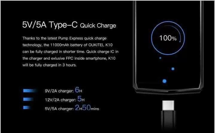 OUKITEL K10 ganha carregador novo 5V / 5A mais rápido e a bateria de 11000mAh, carrega totalmente em 170 minutos 2