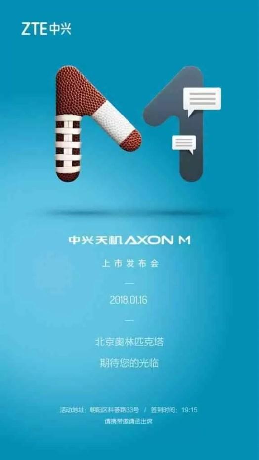ZTE Axon M o telefone dobrável será lançado a 16 de janeiro na China 1