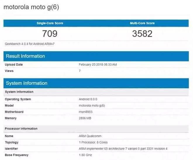 Moto G6 aparece no Geekbench que revela as suas especificações 1