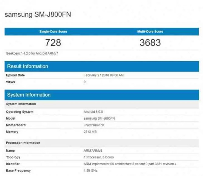 Samsung Galaxy J8 apanhado no Geekbench 1