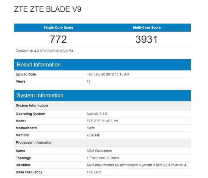 Blade V9 Geekbench