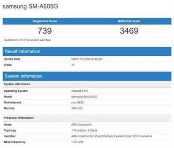 Possíveis Samsung Galaxy A6 e A6+ passam no Geekbench 1