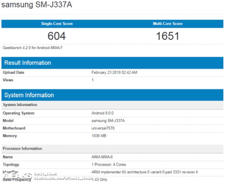 Samsung Galaxy J3 2018 e J3 Pro apanhados em teste de Benchmark 1