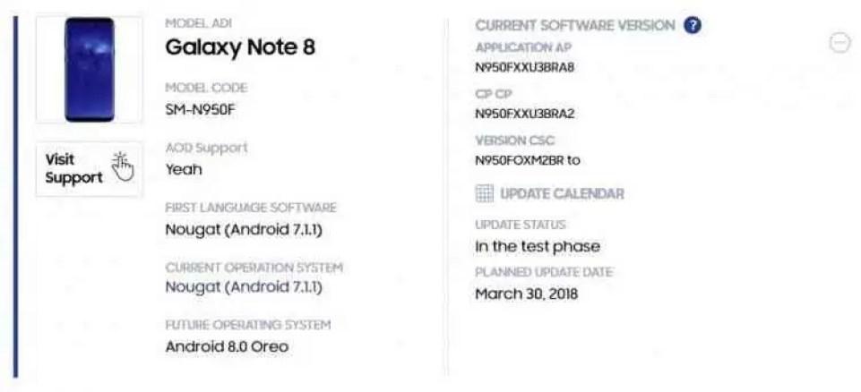 Samsung Galaxy Note 8 receberá o Android Oreo ainda durante o mês de março 1