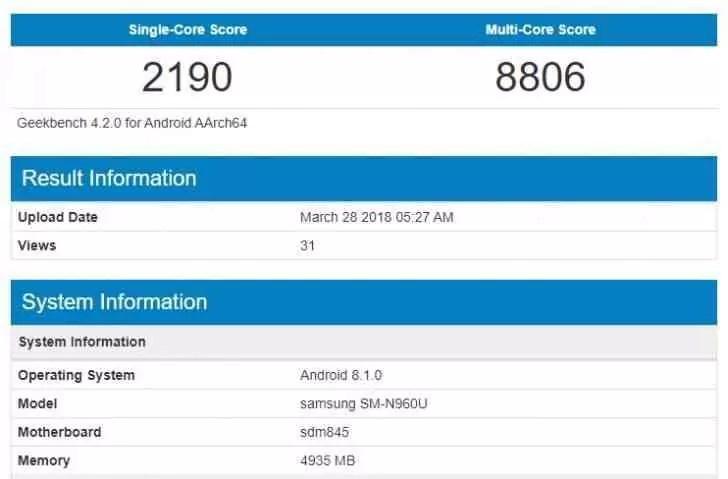 Samsung Galaxy Note 9 deixou marca no Geekbench com Android 8.1 Oreo 1