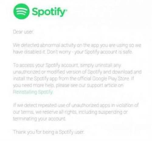 Spotify bloqueia versões pirateadas da sua aplicação 1