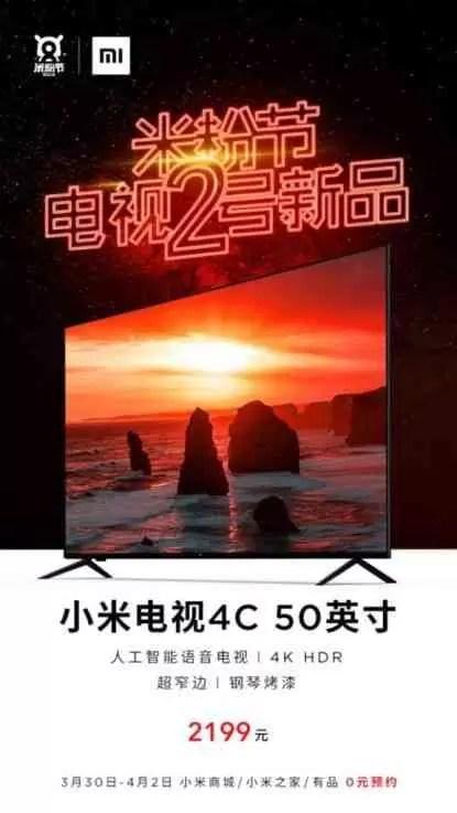 Xiaomi anuncia a Mi TV 4C de 50 polegadas com um preço bombástico 1