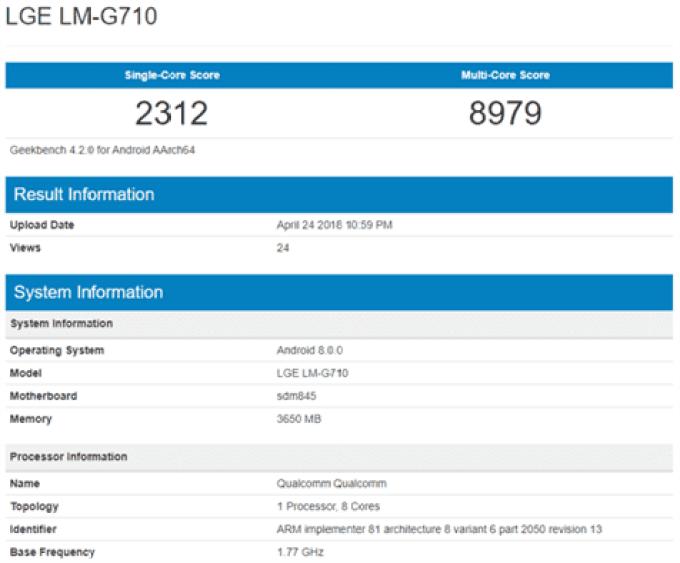 Primeiro benchmark do LG G7 ThinQ desilude em especificações 2