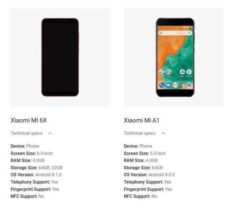 Xiaomi Mi 6X aparece no site oficial da Google: Android.com 1