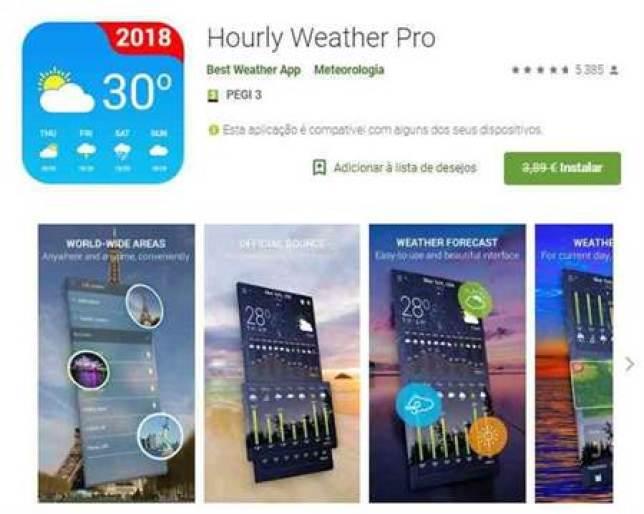 Hourly Weather Pro (era 3.89€ e agora está Grátis) em destaque na Play Store 1