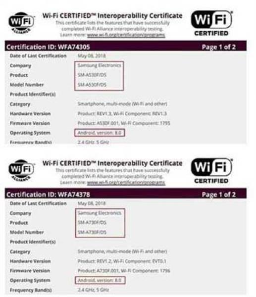 Samsung Galaxy A8 (2018) com Android Oreo em certificação Wi-Fi 1