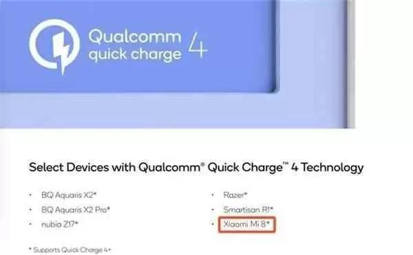Xiaomi Mi 8 confirmado para chegar com QuickCharge 4.0 1