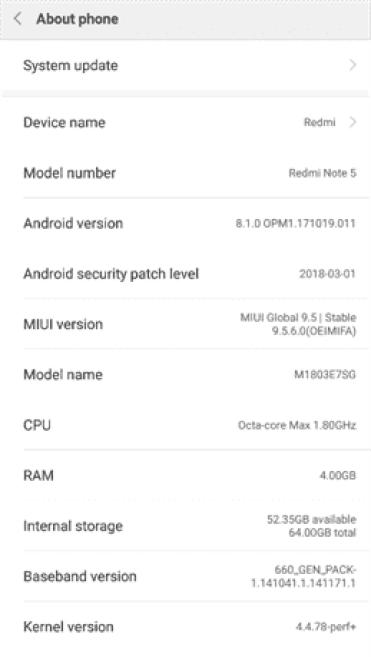 Xiaomi Redmi Note 5 começa a receber a MIUI 9.5.6 baseada no Android 8.1 1