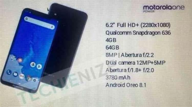 Fuga de informação revela principais especificações do Motorola One Power image