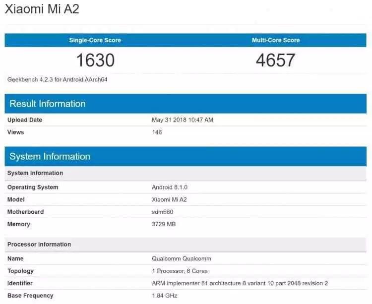 Xiaomi Mi A2 apanhado em teste de benchmark com Android One e Snapdragon 660 2