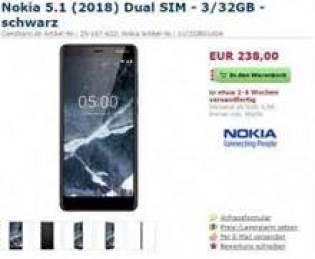 Listagens de pré-ordem do Nokia 5.1