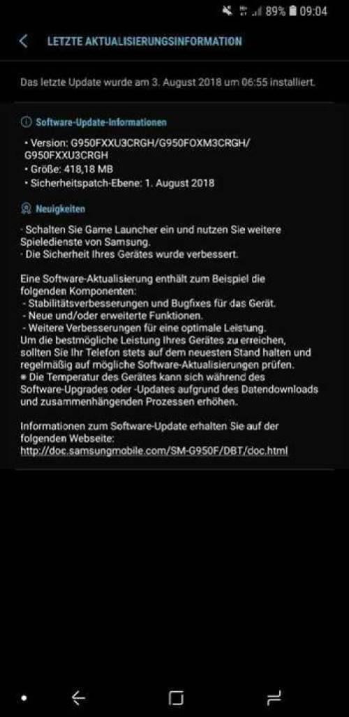 Samsung Galaxy S8 recebe patch de segurança de agosto de 2018 1