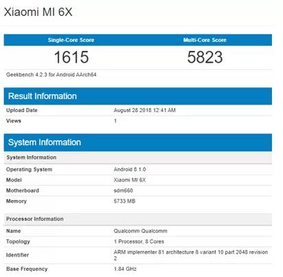 Xiaomi Mi 6X Geekbench