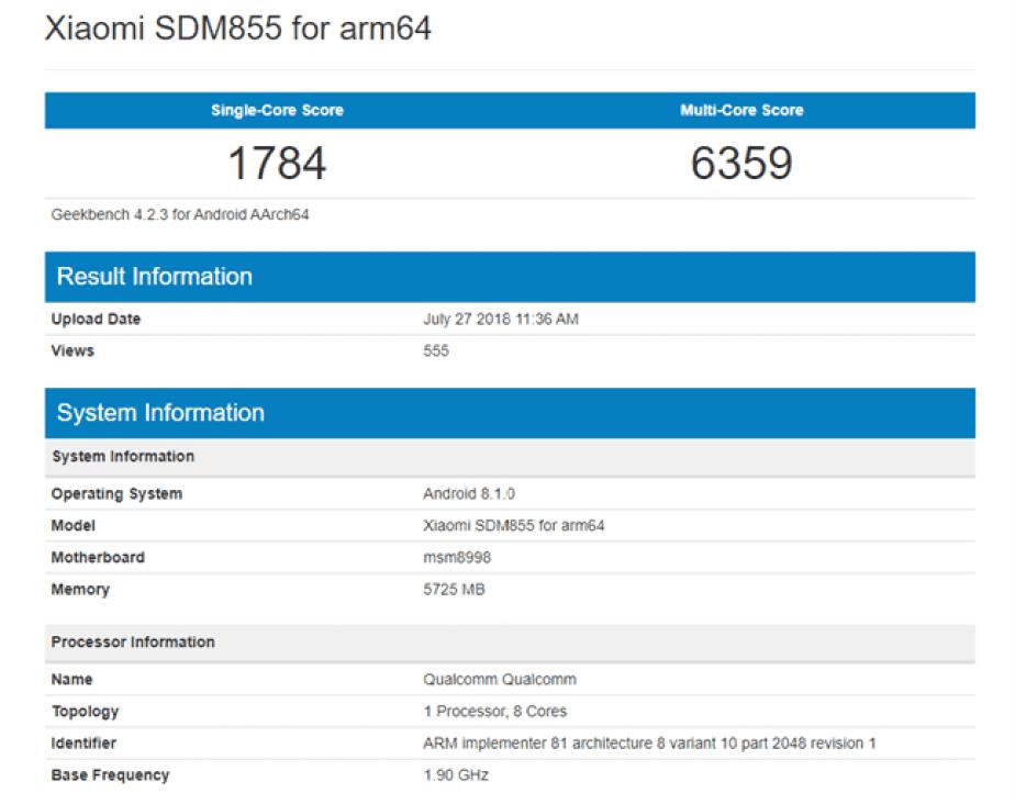Xiaomi Snapdragon 855