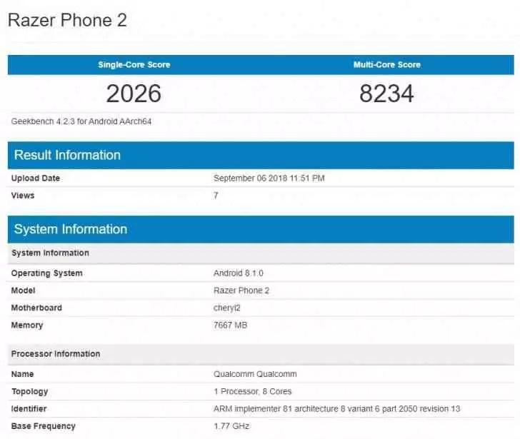 Razer Phone 2 chega ao Geekbench com 8 GB de RAM e SD845 1