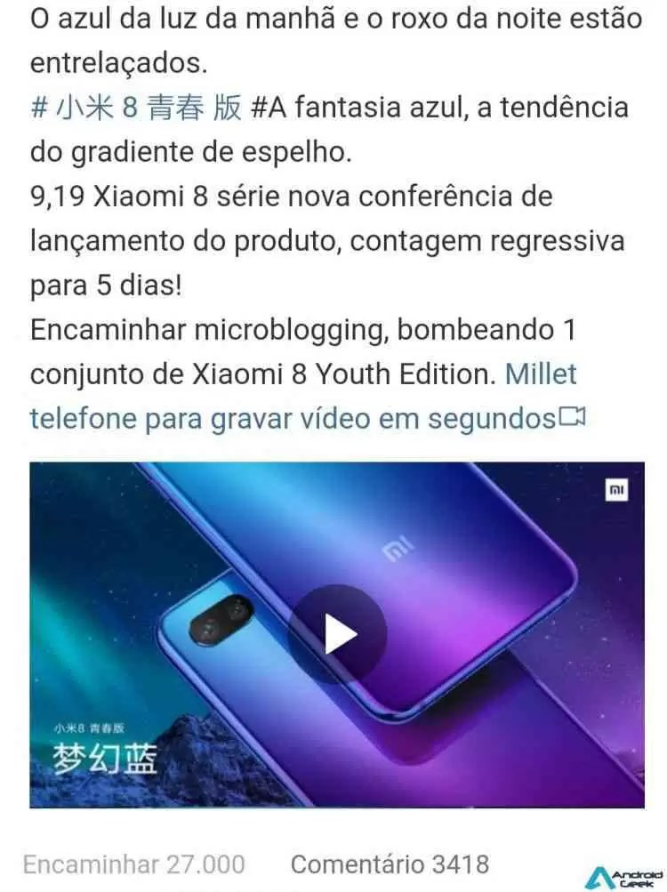 Xiaomi Mi 8 Youth num vídeo teaser 2