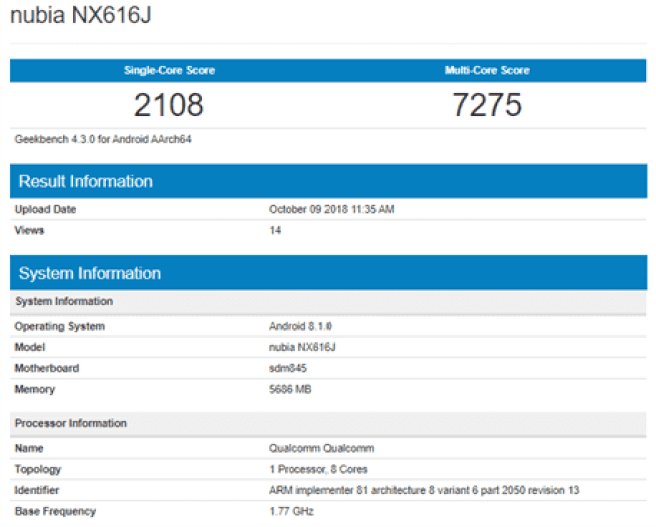 Nubia NX616J_Geekbench