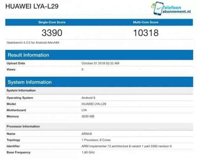 Huawei Mate 20 com Kirin 980 no Geekbench, rebenta com a concorrência 1