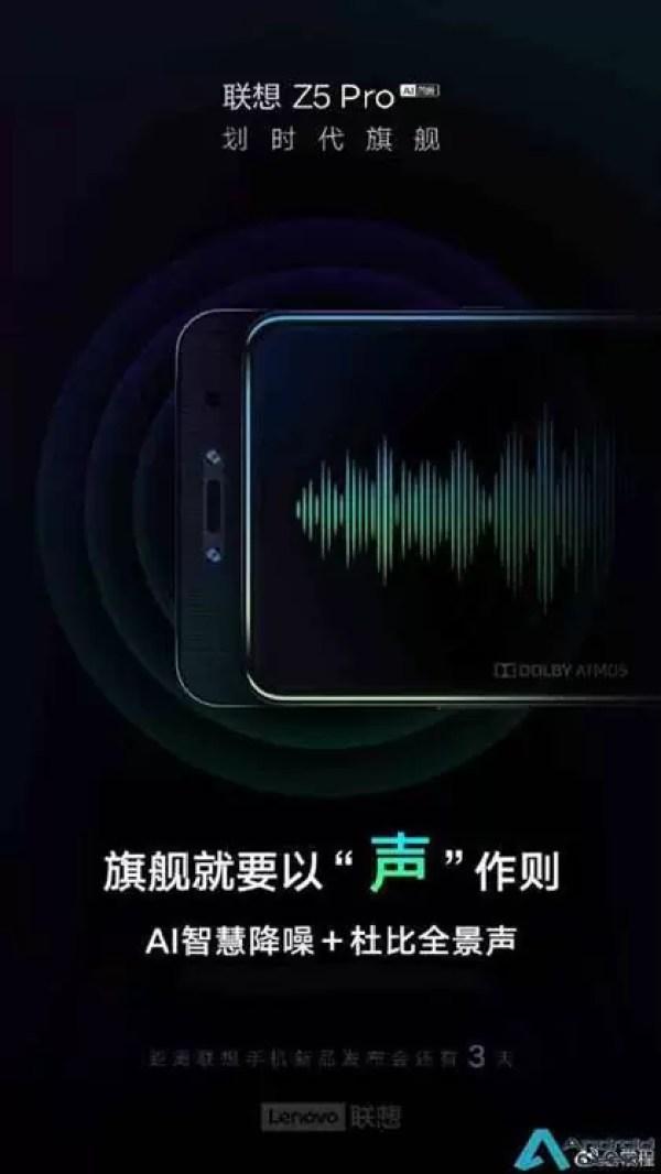 Lenovo Z5 Pro terá AI Noise Reduction e Dolby Panoramic Sound 1