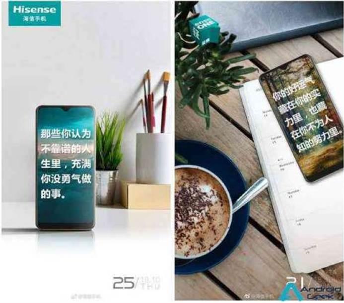 Novo telefone Hisense com um entalhe waterdrop no dia 1 de novembro 1