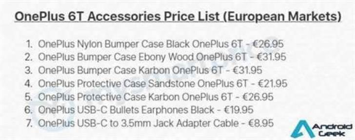 Preços de acessórios do OnePlus 6T em fuga de informação 1