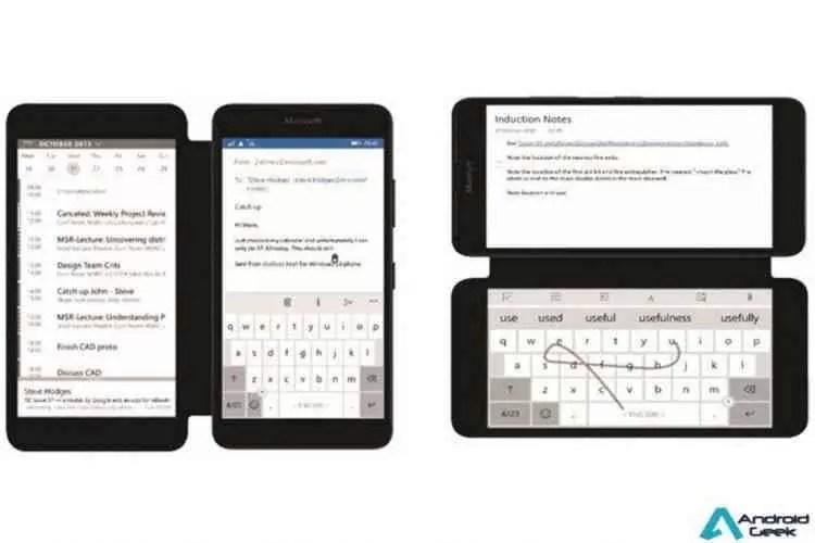 Smartphone protótipo da Microsoft substitui display secundário com capa de e-ink 1