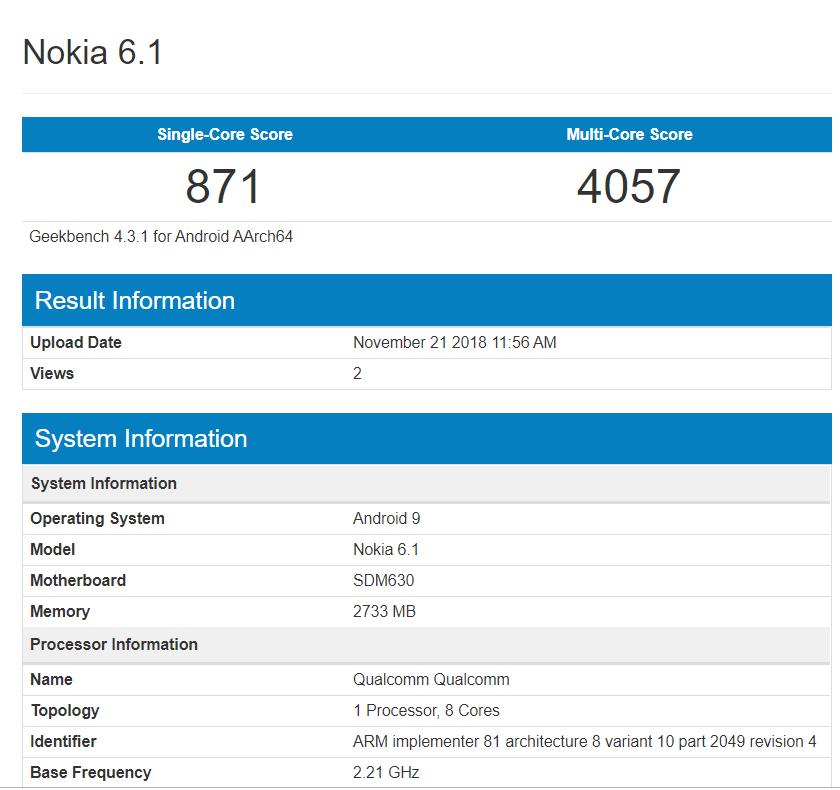 Nokia 6.1 geekbench