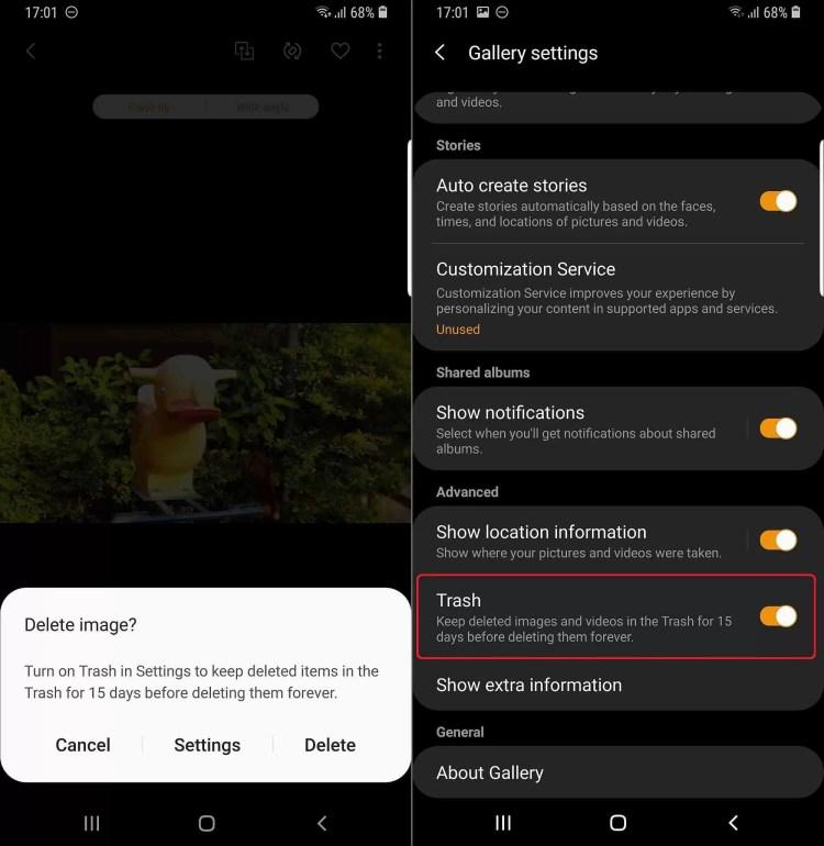 Recurso de lixo do aplicação da Galeria Samsung