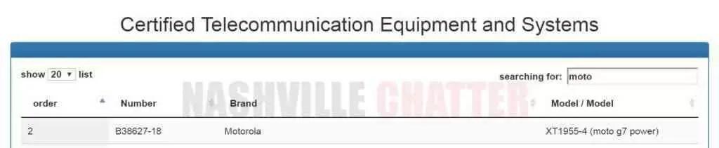 Certificação de Moto G7 Power