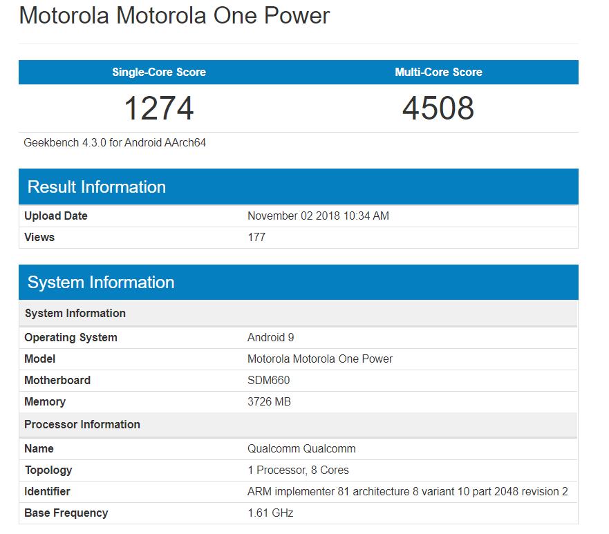Android Pie do Motorola One Power Geekbench