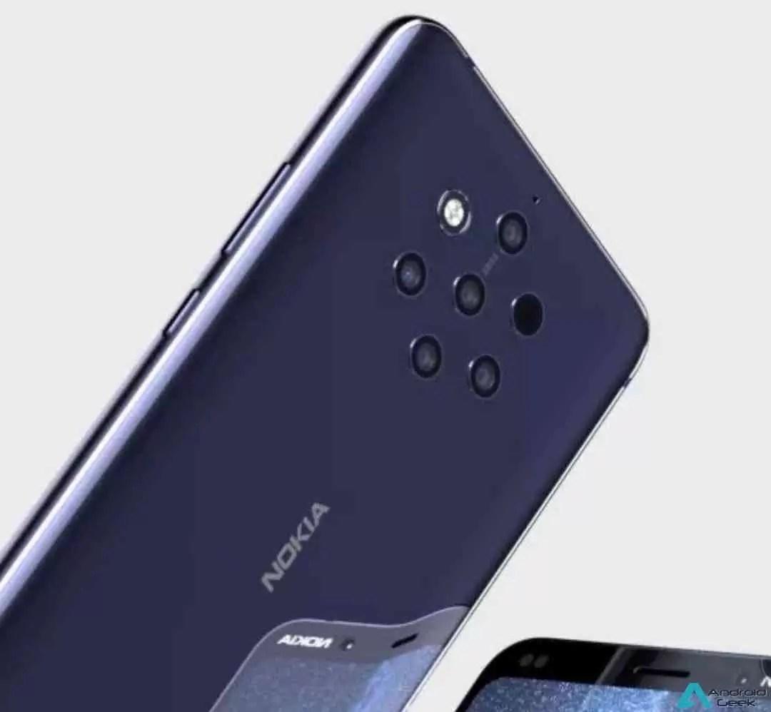 Leak Nokia: Parte superior frontal do Nokia 9 mostrada nas primeiras fotos ao vivo do telefone com câmara penta-lens 5