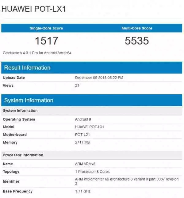 Huawei P Smart (2019)visto no GeekBench rodando Android Pie com 3GB de RAM 2