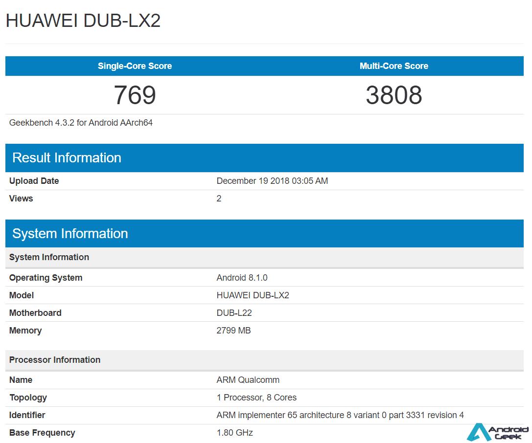 Huawei Y7 Prime 2019 aparece no Geekbench 1