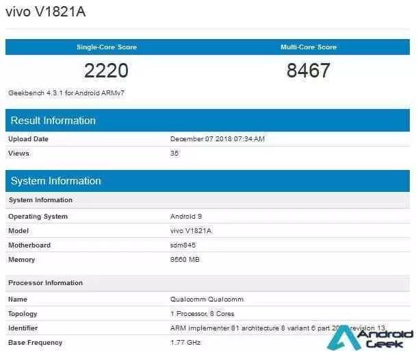 Vivo NEX 2 no Geekbench confirma o Snapdragon 845 e 10 GB de RAM 1