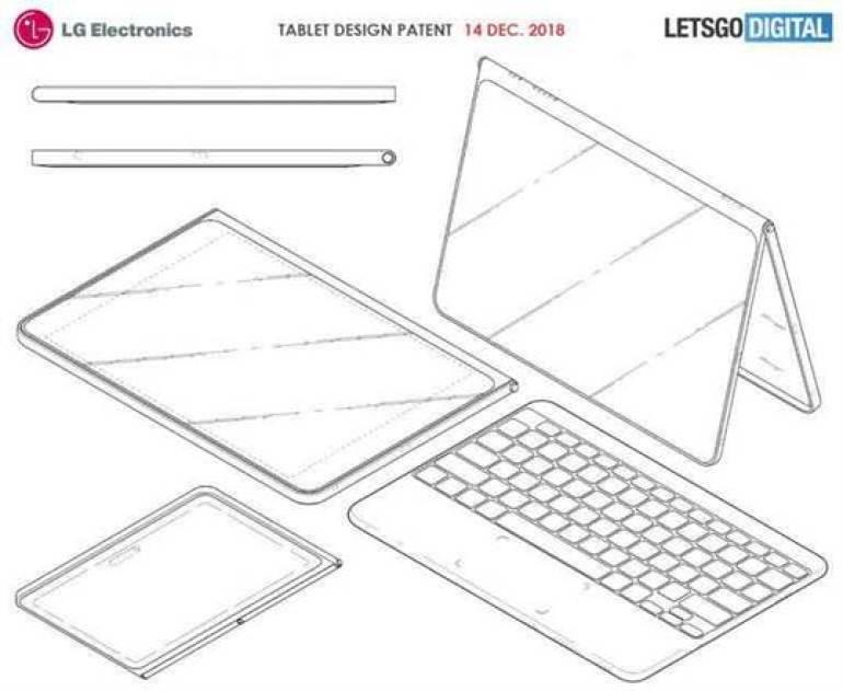 LG patenteou um novo tablet com capa e teclado sem fio 1
